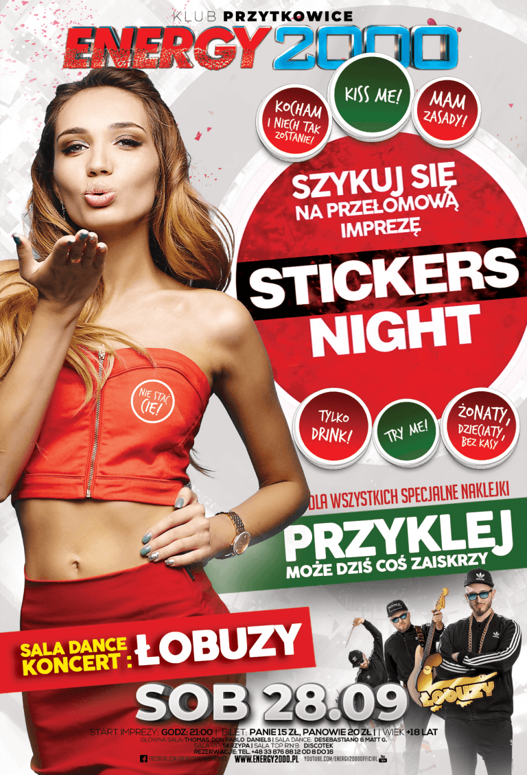 Stickers NIGHT ★ Łobuzy – sala DANCE